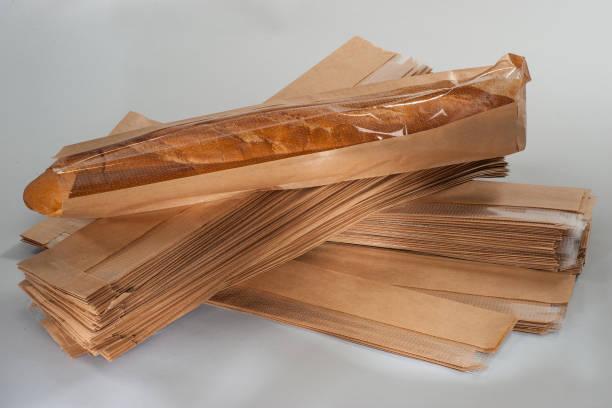 bread baguette in paper packaging