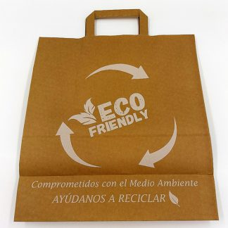 BOLSA PAPEL KRAFT ASA PLANA 32+14X35 IMPR. ECO-FRIENDLY C/300