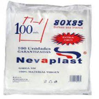 BOLSA DE ASA 80X85 PQ100 C/5 NEVAPLAST
