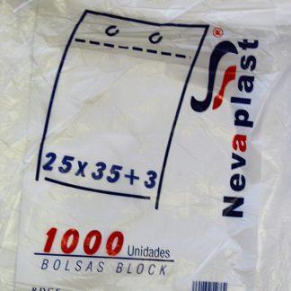 BOLSA DE BLOCK 25X35 +3 ESTANDAR TRANSP. C/5 PQT