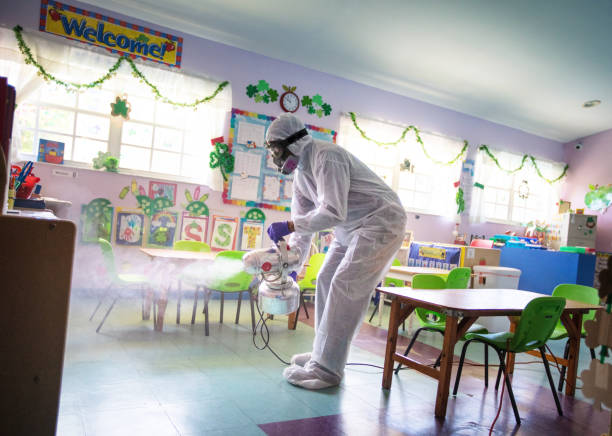 Spraying daycare classroom for back to school