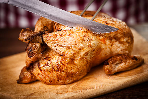 Carving a delicious roast chicken