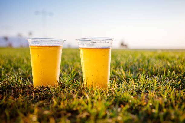 Cold beer on grass