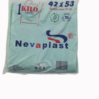 BOLSA ASA 42X53 VERDE G-200 REUT. 70% REC. 1KG C/20 NEVAPLAST