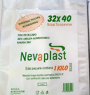 PLASTICO TRANSPARENTE 27X35 TRICAPA G-200 C/25 NEVAPLAST 1 KG