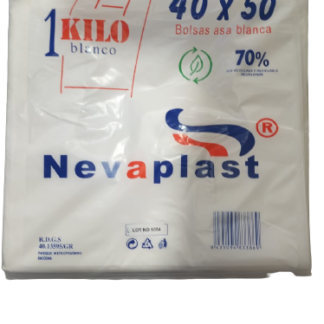 BOLSA ASA 30X40 BLANCA G-200 REUT. 70% REC. 1KG C/20 NEVAPLAST